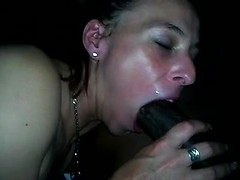 Married girl gives beautiful blowjob to big black cock as her husband films