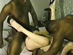 Hot wife fucking videos with my nasty bitch serving two black dicks at once