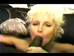 Kinky blonde mature wife gives very intense handjob to big black dick